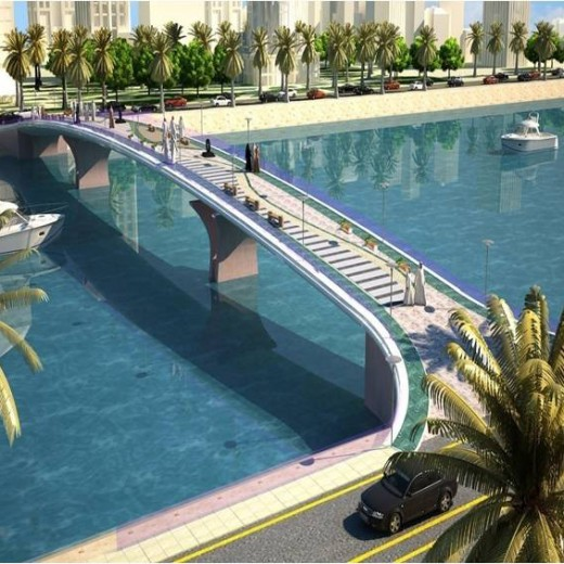 Al-Marina-Development,-Lagoon-Pedestrian-Bridge,-KSA